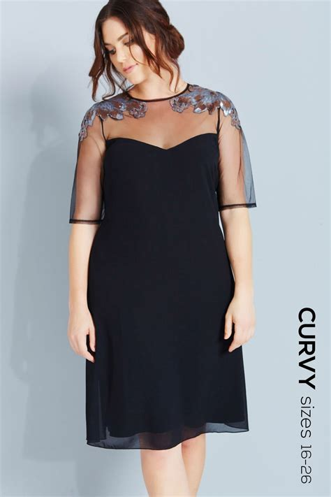mistress curvy black mesh  sequin shift dress