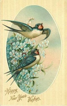 Wedding Bells Are Ringing Bluebirds Are Singing by A Happy New Year Vintage Post Card Post Card Vintage