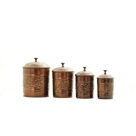 antique embossed heritage canister set 4