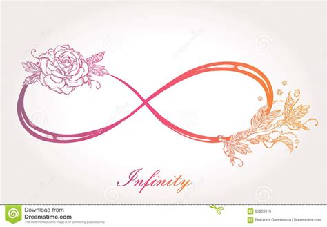infinity sign with rose stock illustration image 60855910