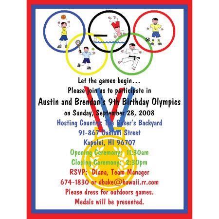 olympic theme invitation sayings just b cause