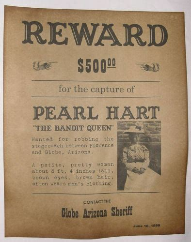 pearl hart wanted poster western lady outlaw  west