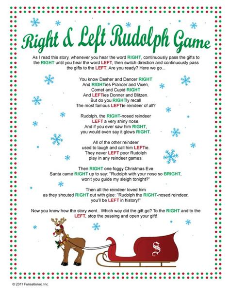 elf gift passing game free right left rudolph passing my family has played this for the last two years one