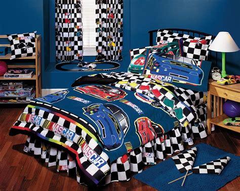 Nascar Bedroom Furniture Nascar Boys Bedding Nascar Checkered Flag Bed In A Bag Bedding Set Decor Ideas