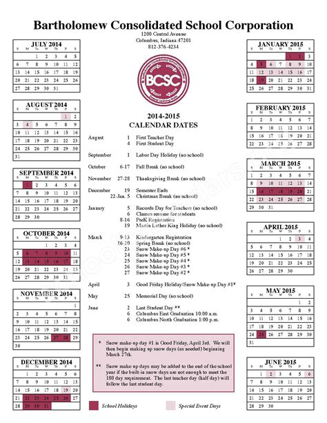 Bcsc Calendar 2014 2015 School Calendar Csa Lincoln Cus