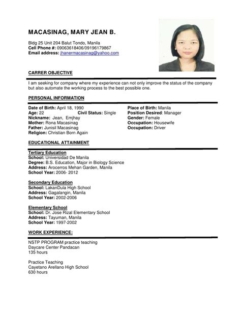 simple curriculum vitae format for application resume format exles ingyenoltoztetosjatekok