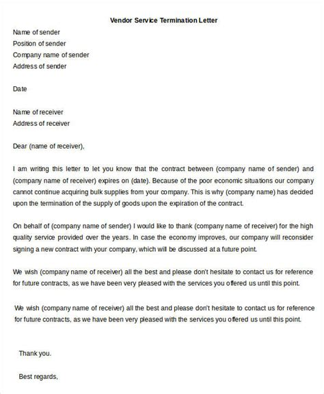 Supplier Evaluation Letter Template vendor termination letter for poor performance docoments