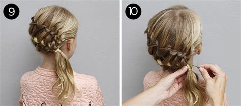 step by step ladder braid try this hairstyle diagonal ladder braid into a side