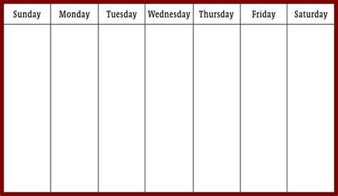 printable calendar one week printable one week calendar