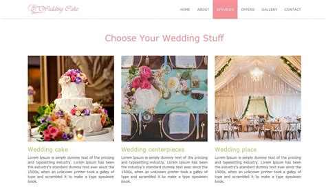 bootstrap themes bakery wedding cake theme prepbootstrap