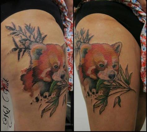 panda tattoo on thigh awesome red panda tattoo on left thigh