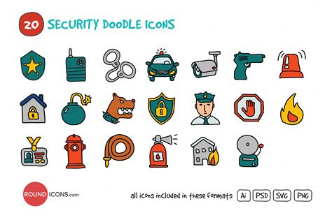 doodle surveillance security doodle icons set icons on creative market