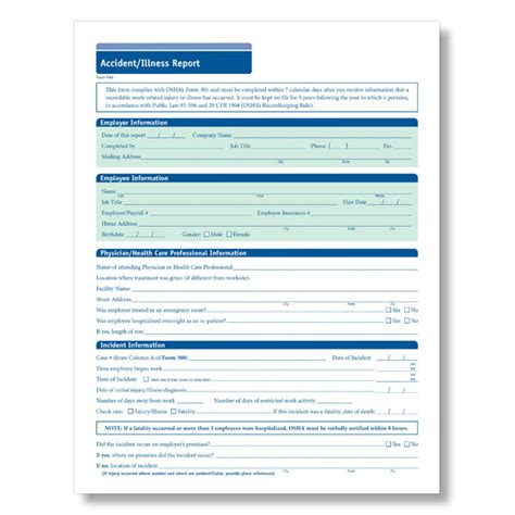 Osha Accident Report Form Template