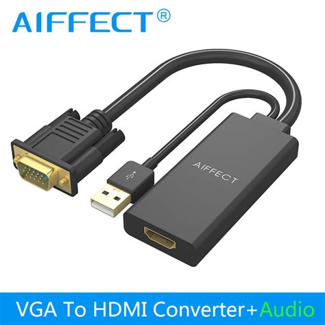 Audio Vga To Hdmi Converter aiffect vga to hdmi adapter converter hdmi vga adapter 2k 1080p audio av for hdtv tv box