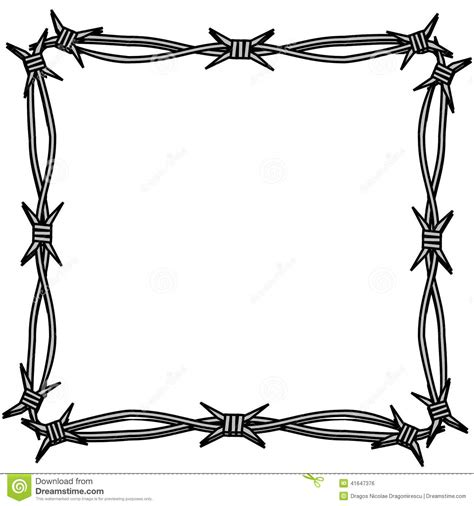 barbed wire simple frame stock illustration illustration