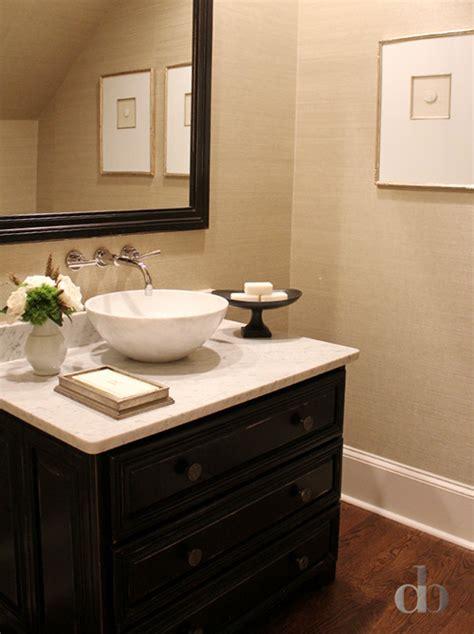 tan  black powder rooms transitional bathroom