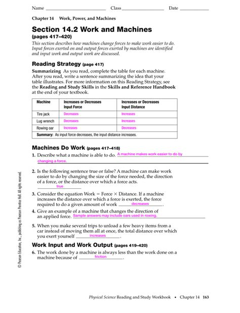 section 3 simple machines answers work power and machines worksheet the best and most