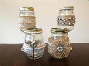 shabby chic jars decorated with burlap lace and