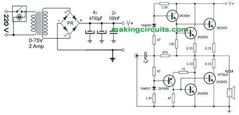 2n3055 transistor lifier circuits simple 100 watt lifier circuit using 2n3055 transistors