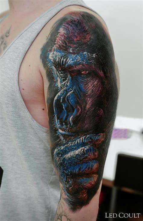 gorilla tattoo meaning gorilla by led coult tattoos