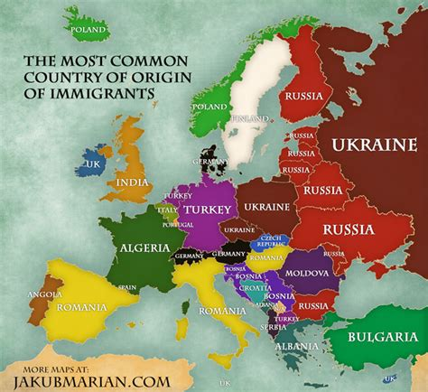 new year country of origin immigration in europe map of percentages and countries of