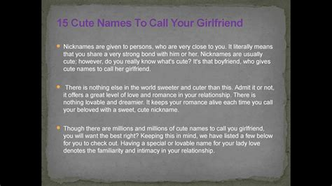 top  cute names  call  girlfriend youtube