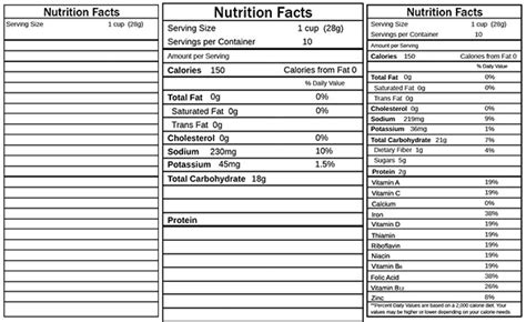 Nutrition Facts Label Template Illustrator