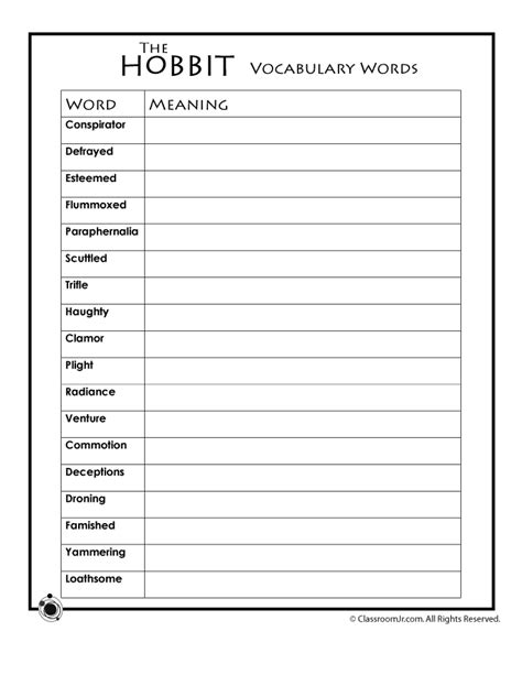 Vocabulary Worksheets by Hobbit Vocabulary Worksheet Woo Jr Activities