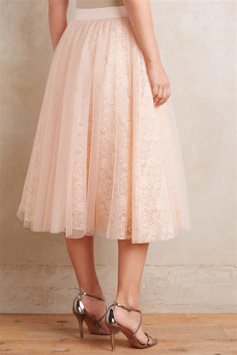 bailey 44 laced tulle midi skirt in pink lyst