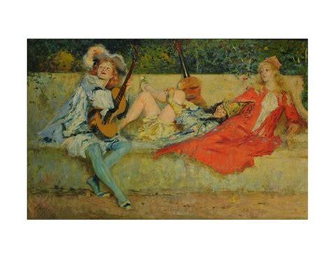 pre raphaelite figures on a garden bench by stephen wilson
