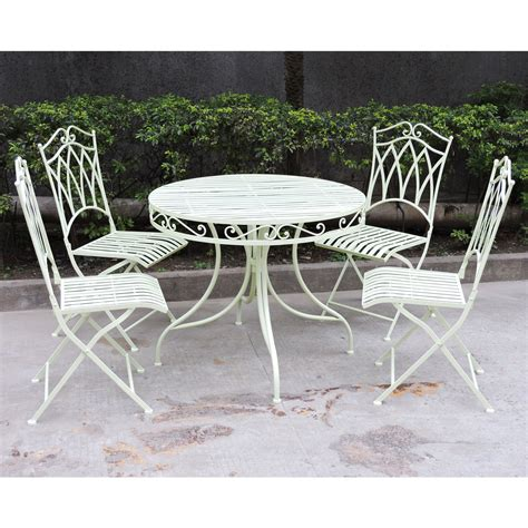 Charles Bentley Garden 5 Piece Wrought Iron Furniture Set Green Wrought Iron Patio Furniture