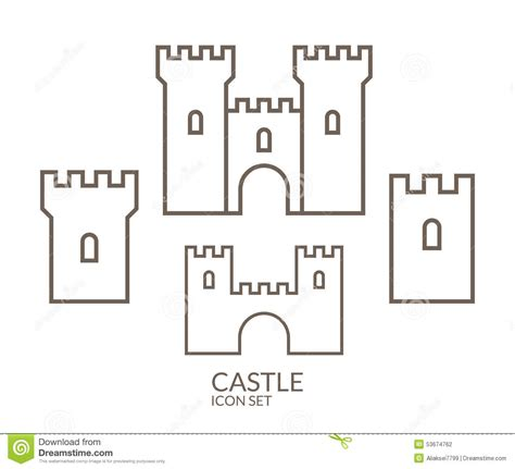 castle drawing template castle icon set outline stock vector image 53674762