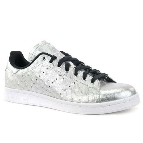 adidas mens stan smith metallic ostrich silver shoes aq
