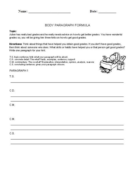 paragraph structure worksheet writing a paragraph worksheet class
