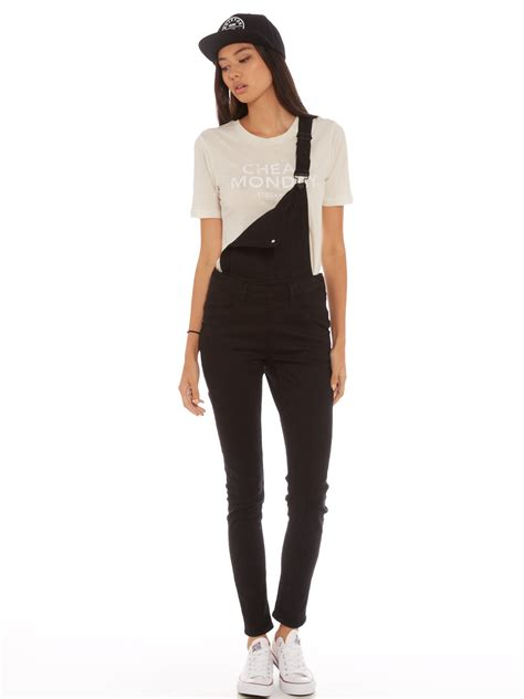 New Overall cheap monday dungaree overalls in new black denim