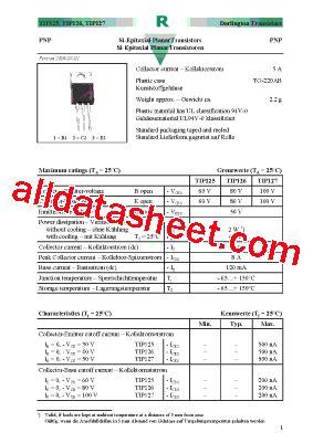 transistor tip127 datasheet tip127 datasheet pdf diotec semiconductor