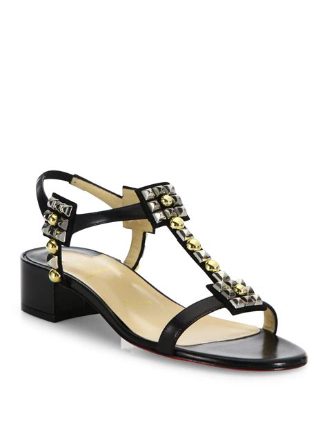 lyst christian louboutin kaleidra 25 studded leather block heel sandals in black