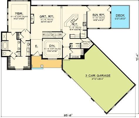 angled house plans angled garage home plan 89830ah 1st floor master suite
