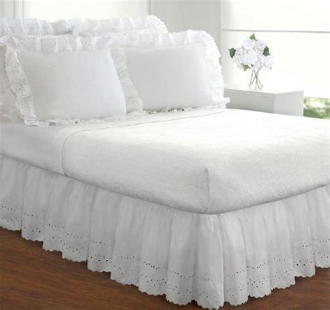 White Size Bed Skirt white bed skirt king size dust ruffle eyelet 14 inch drop