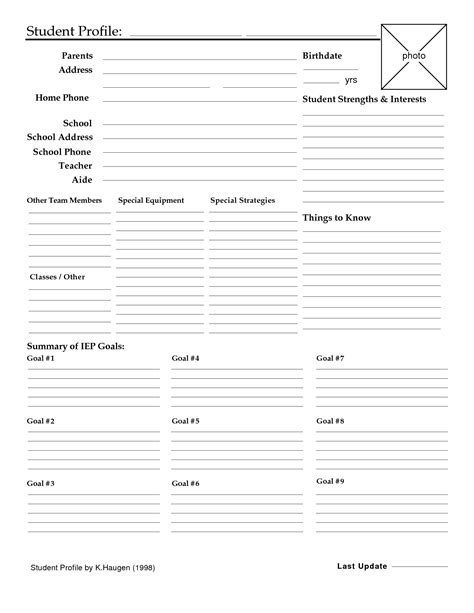 student profile template best photos of student profile form template student
