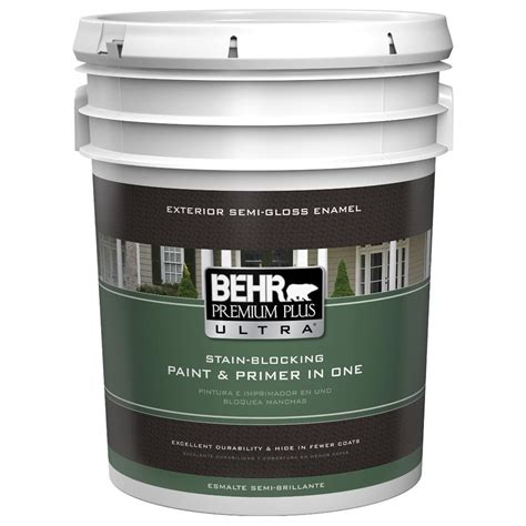 behr premium plus ultra 5 gal medium base semi gloss enamel exterior paint 585405 the home depot