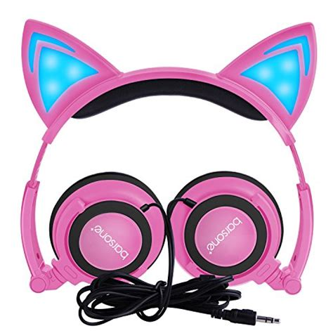headphones with light up cat ears cat ear headphones barsone wired foldable on ear headsets