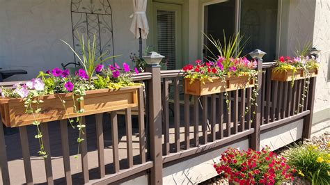 deck rail planter boxes 5 pot planter redwood universal deck rail planter box