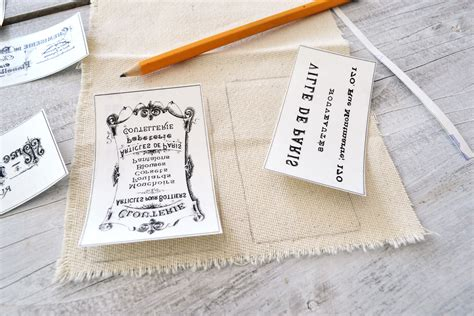 printable iron on fabric labels diy french ephemera fabric labels and free printable