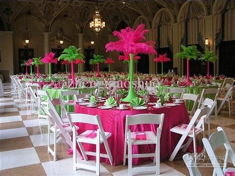 pink and lime green wedding reception centerpieces with