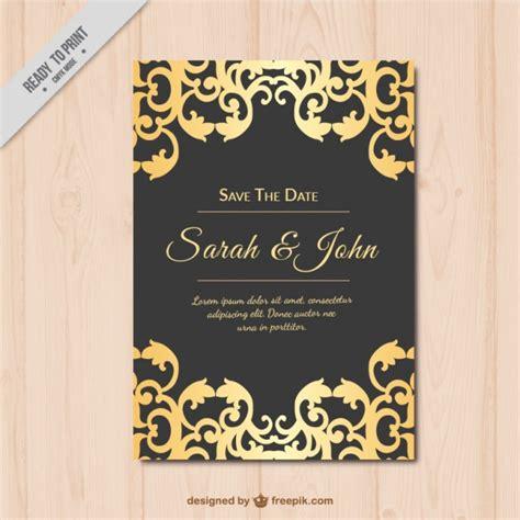 wedding invitations and black wedding invitation gold and black vector free