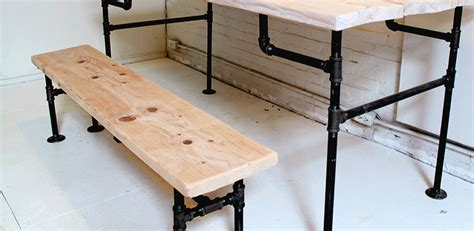 diy table bench wood iron bench