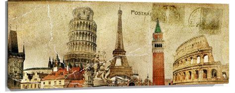 imagenes vintage italia cuadro monumentos ciudades torre pisa eiffel big ben