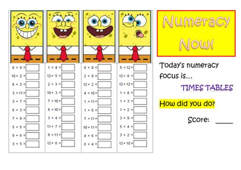 numeracy times tables practice by mcamaths teaching