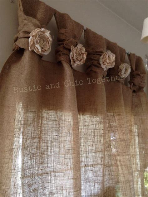 burlap curtains pinterest burlap curtains tea dyed rosettes wide tabs thank you
